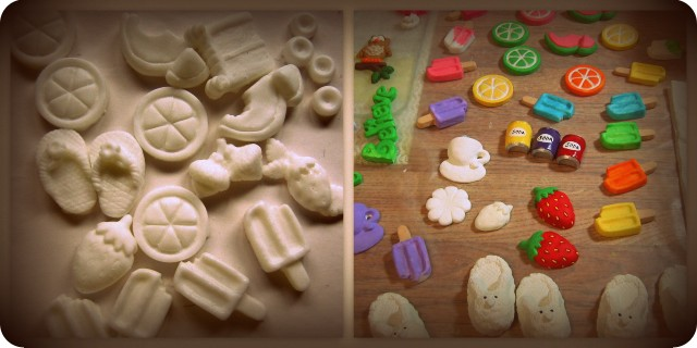 Unpainted and painted resin pieces