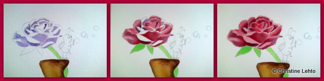 Watercolor rose work-in-progress