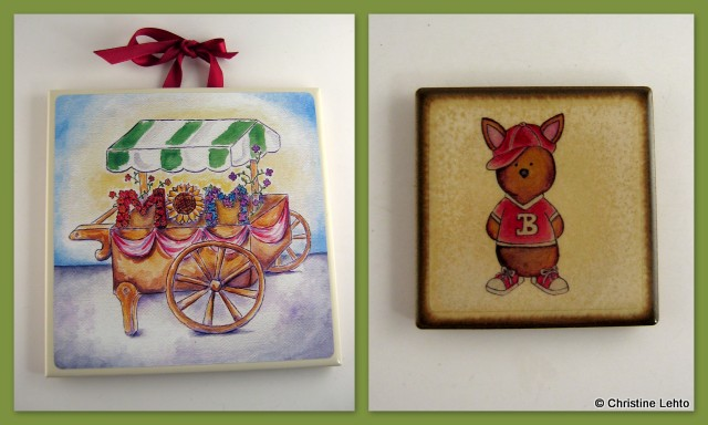 Christine's flower cart and sporty bunny character on ceramic tiles