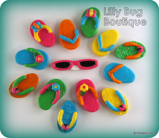 Assorted flip flop & sunglasses fridge magnets