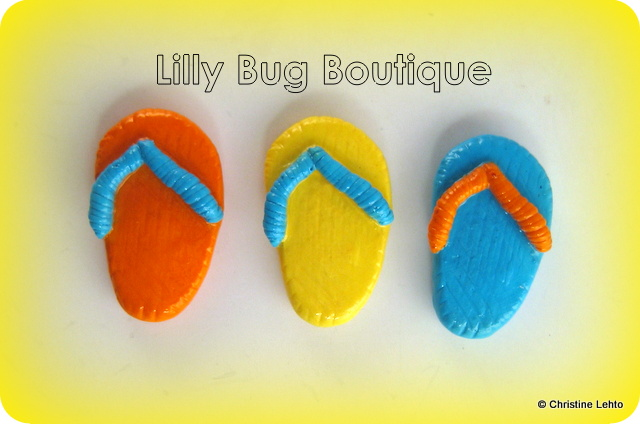 Summer flip flop fridge magnets in orange, yellow and aqua blue