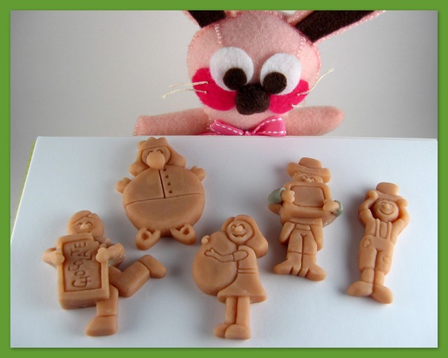 Ralphie with the Willy Wonka character pieces made with polymer clay, Mystery Build 2012