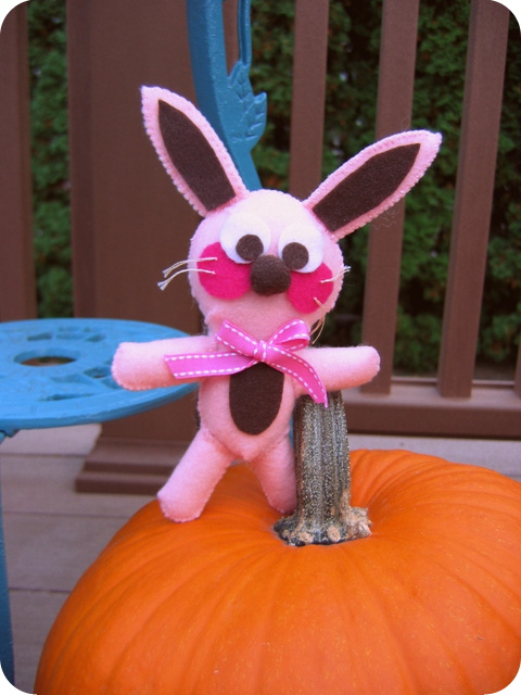 Ralphie the felt bunny with pumpkin