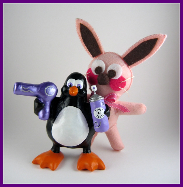 Ralphie the bunny and Hair dresser penguin sculpture