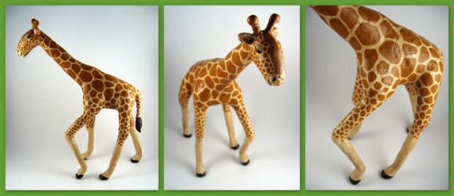Completed giraffe sculpture with crackled and antiqued finish