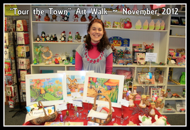 "Christine with her display at the ""Tour the Town"" Art Walk in November 2012"