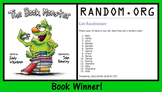 Book Monster giveaway winner