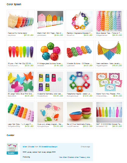 Etsy Treasury Color Splash