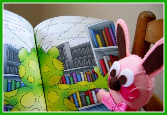 Ralphie reading The Book Monster