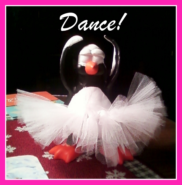 Ballerina penguin sculpture