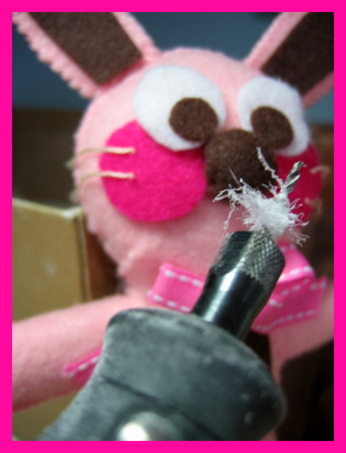 Ralphie the bunny with Dremel tool drill bit