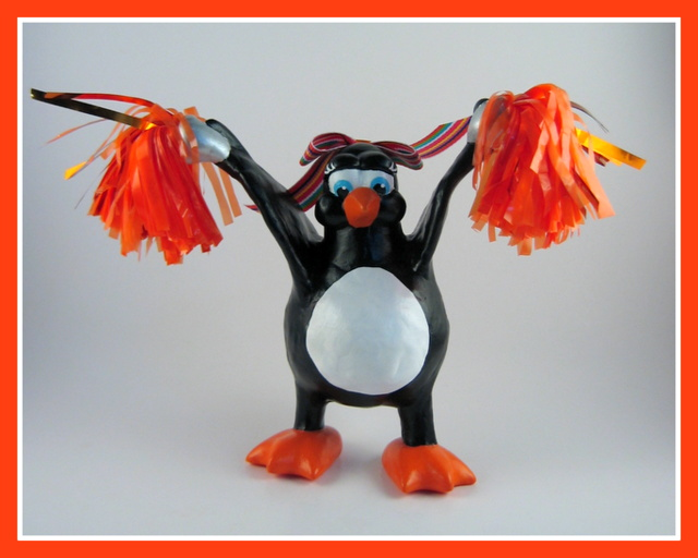 Pom Pom penguin sculpture