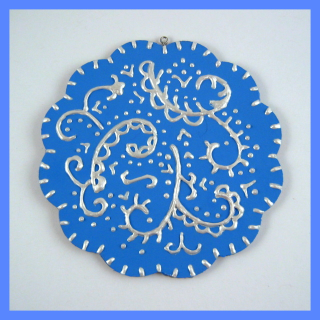 Blue and pearl flower handmade ornament