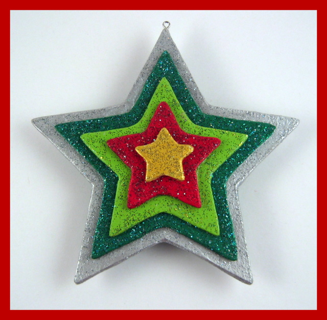 Vibrant star handmade ornament